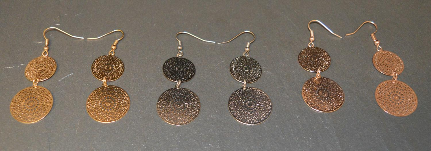 Double Disc Drop Earring with Cut Out Detail
