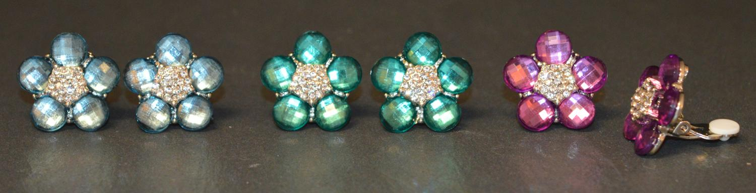 Large Flower Clip Earring with Coloured Stones and Diamante Centre