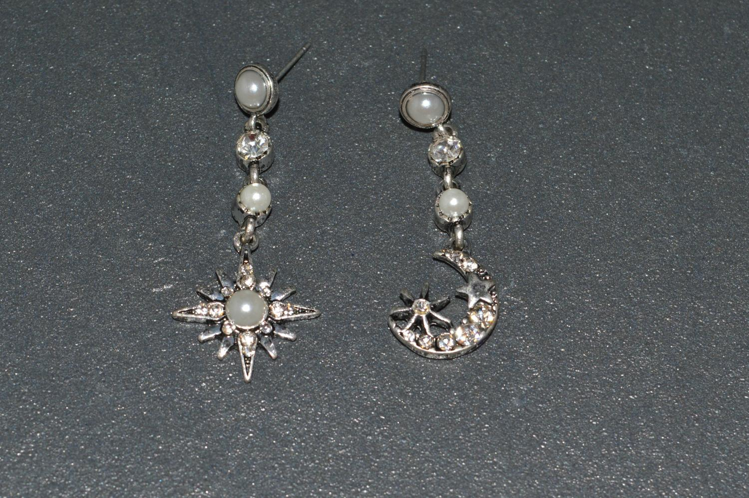 Moon and Star Drop Earring
