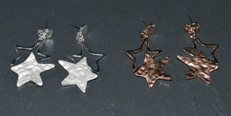 Two Tone Star Drop Earring