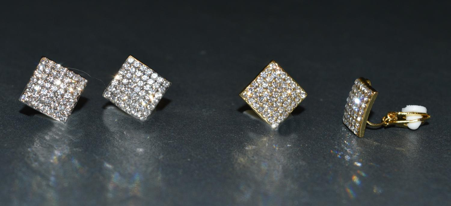 Diamante Covered Diamond Shaped Clip Earring