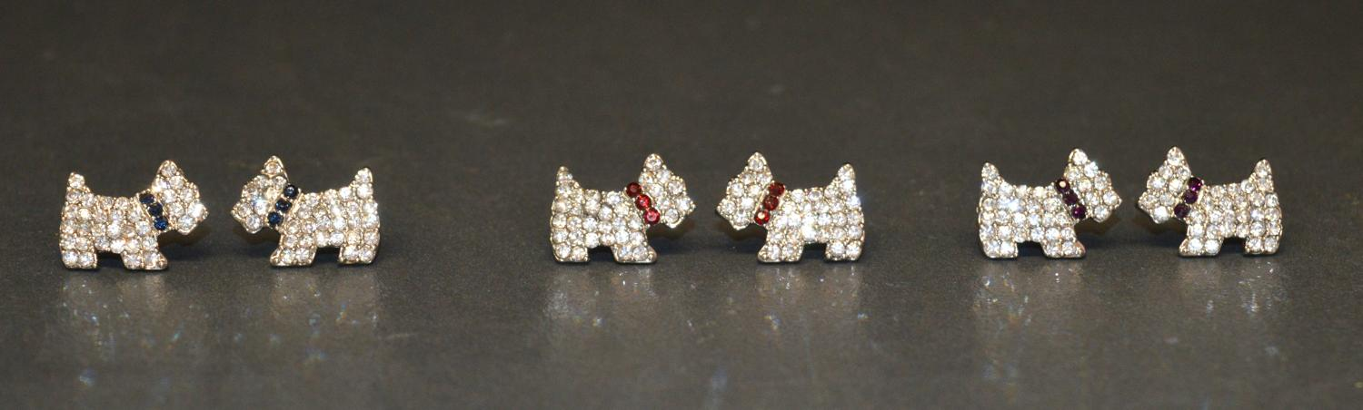 Scotty Dog Diamante Earring with Coloured Collar