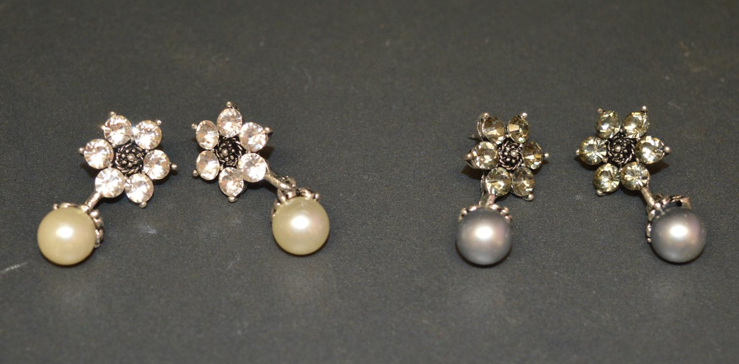Diamante Flower Earring with Pearl Drop