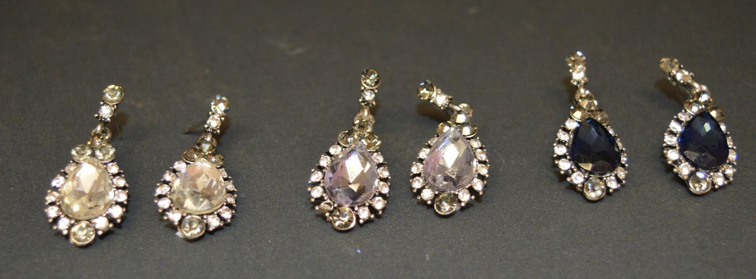 Tear Shape Diamante Drop Earring with Large Glass Stone Centre