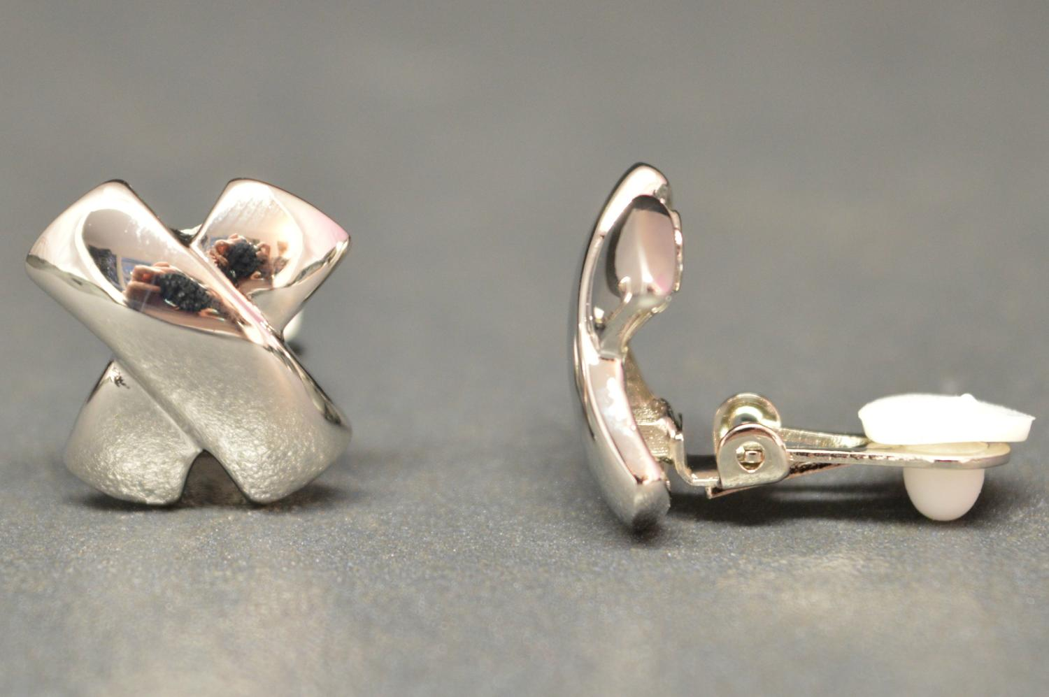 Silver Coloured X Shaped Clip Earring