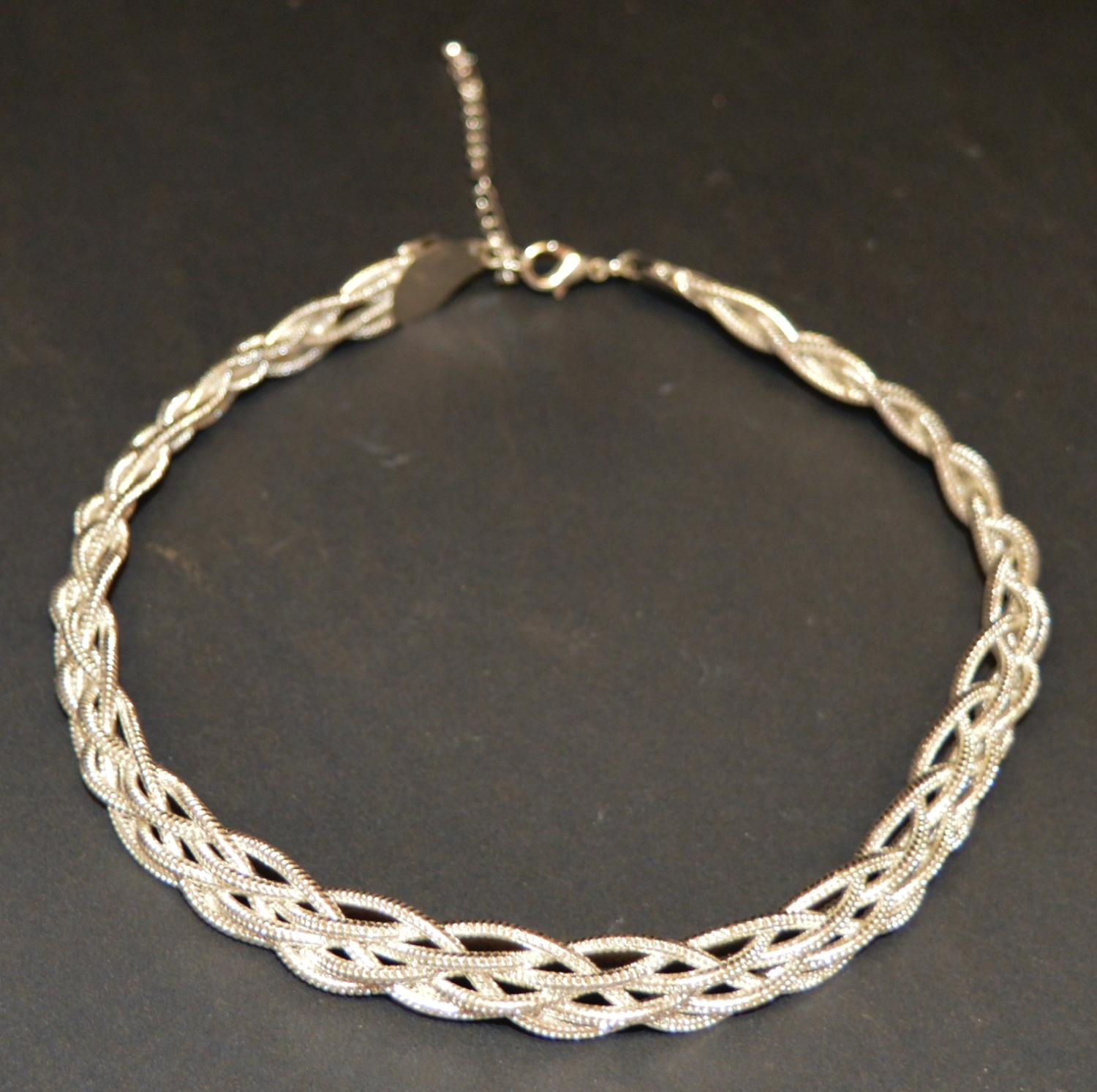 Plaited Silver Coloured Necklace