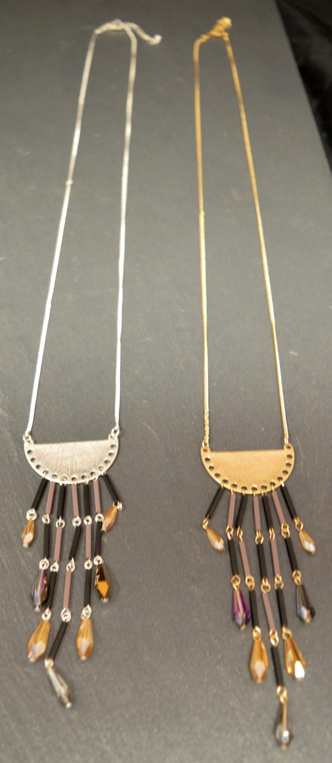 Half Circles with Tassels on a Long Necklace