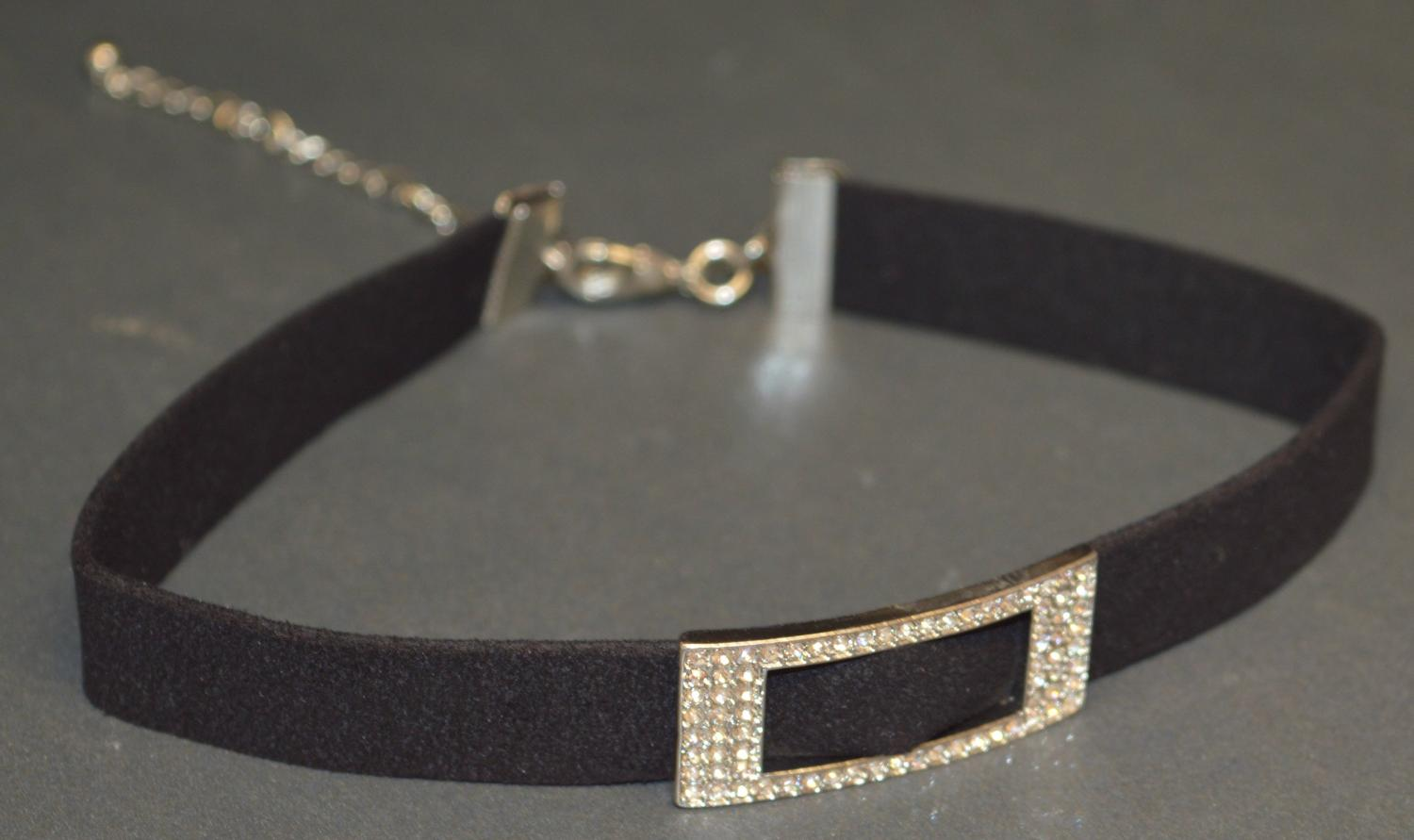 Suede Effect Choker with Diamante Buckle Detail