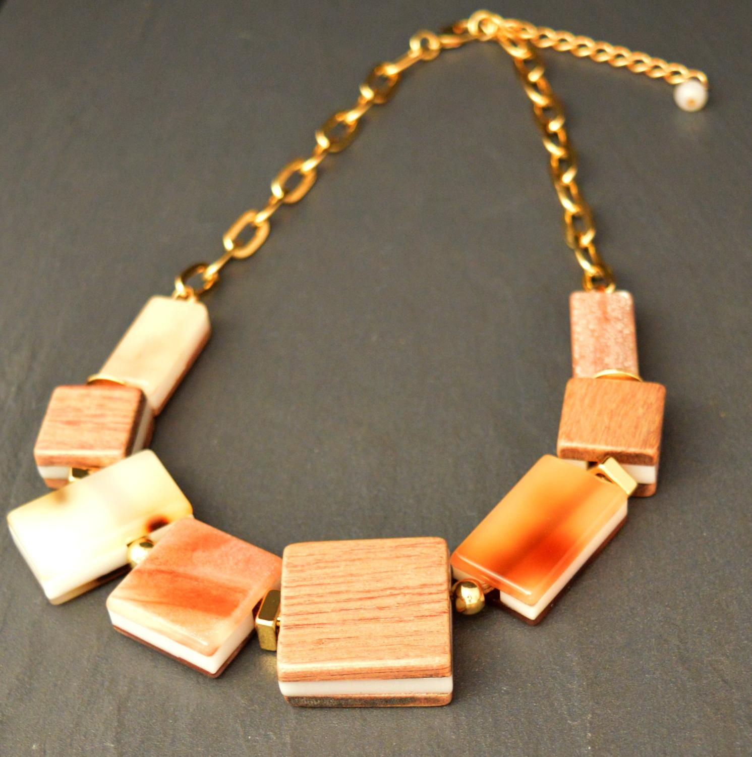 Square Acrylic and Wood Beaded Necklace