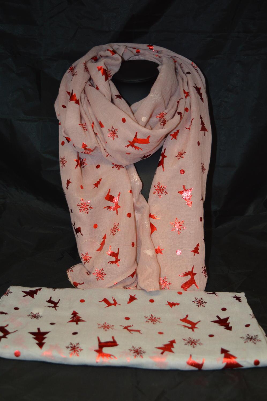 Reindeer and Snowflake Foil Scarf