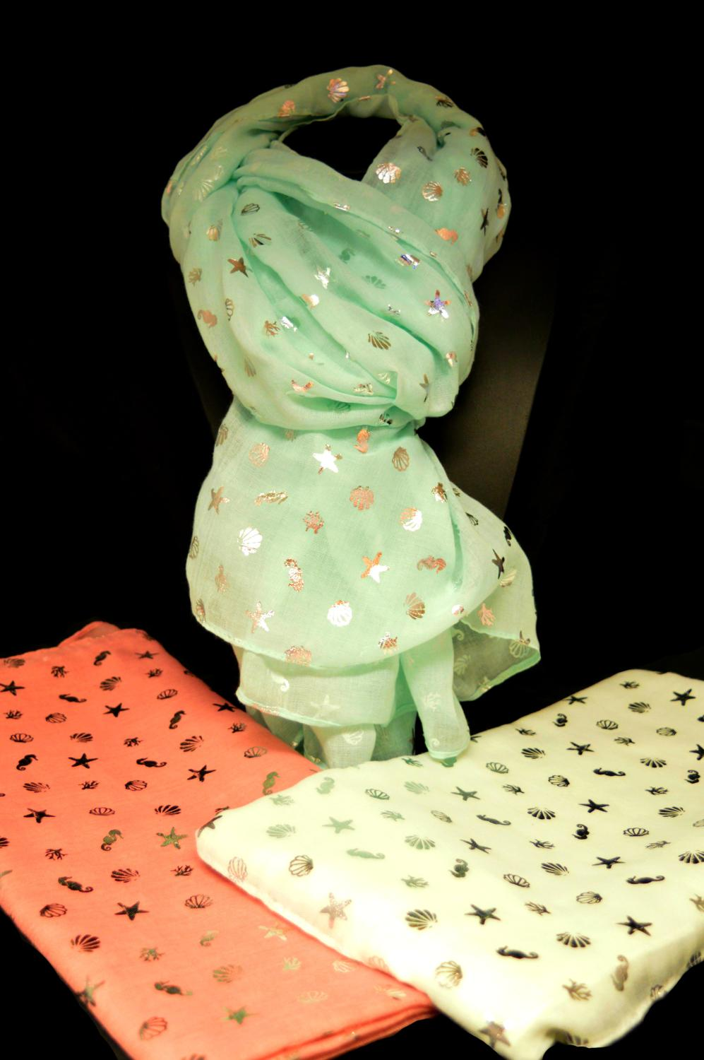 Small Shell and Seahorse Foil Print Scarf