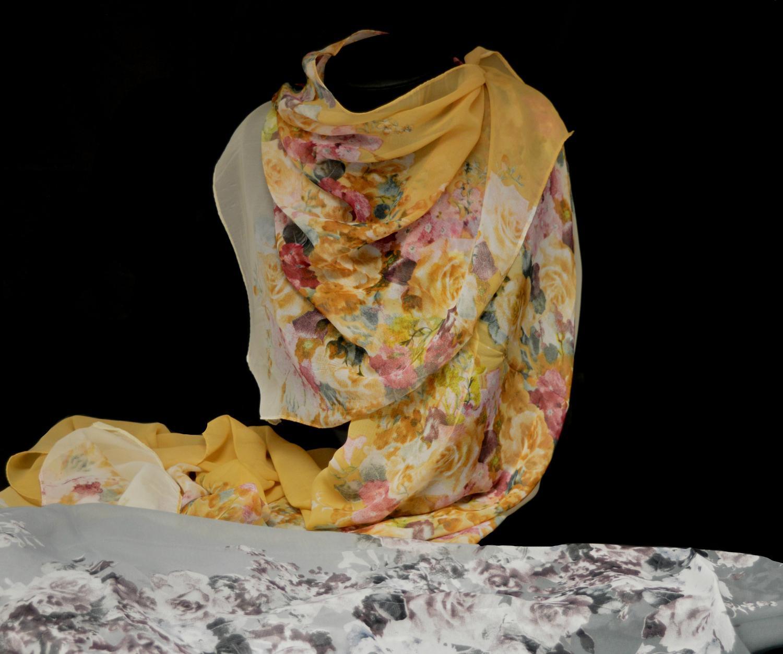 Muted Floral Print Chiffon Scarf