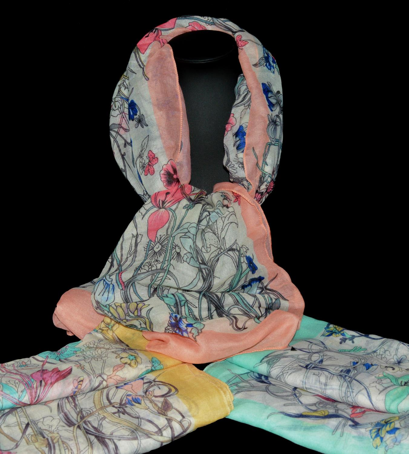 Multi Floral Scarf with Plain Boarder
