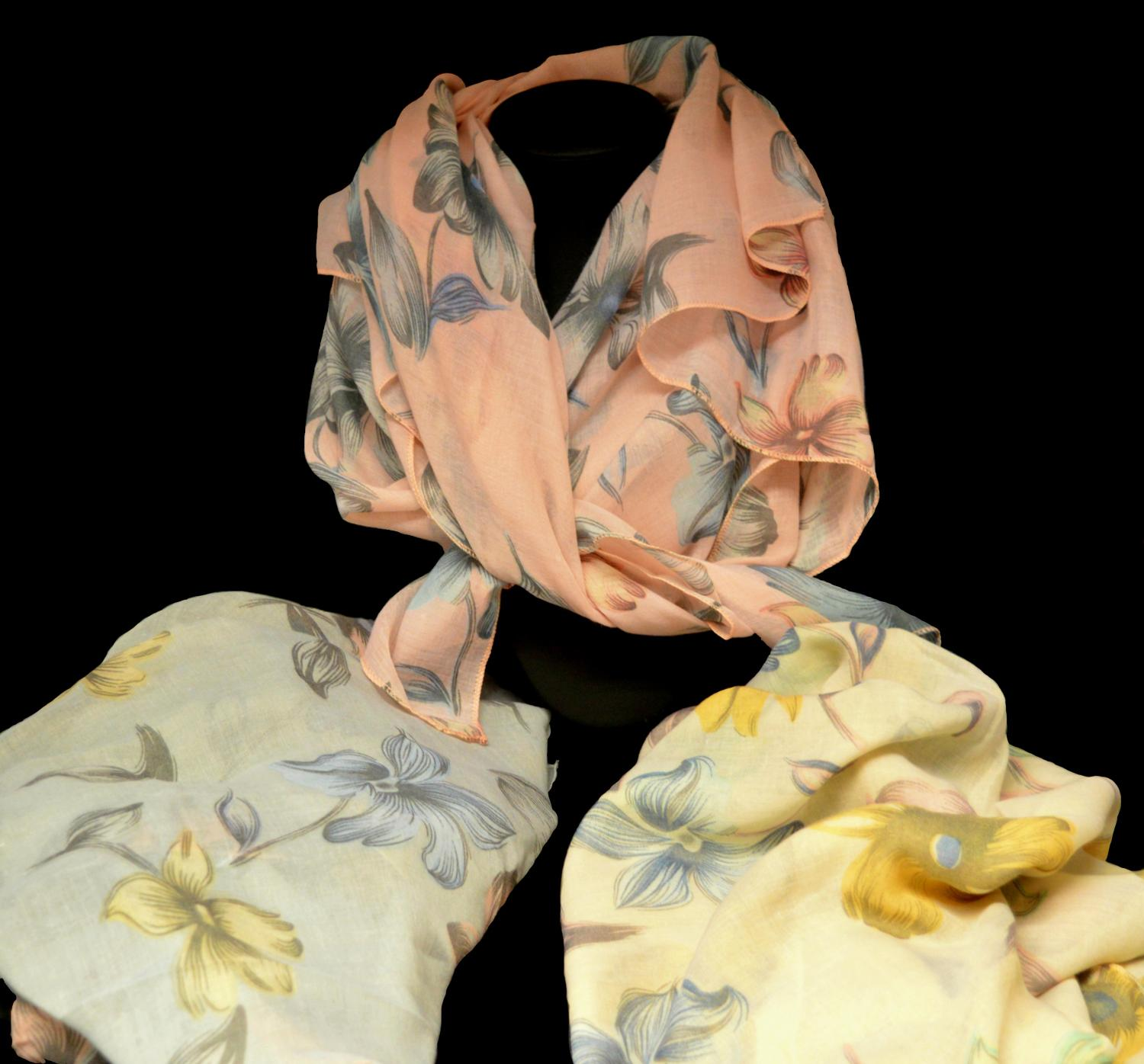 Muted Flower Print Scarf