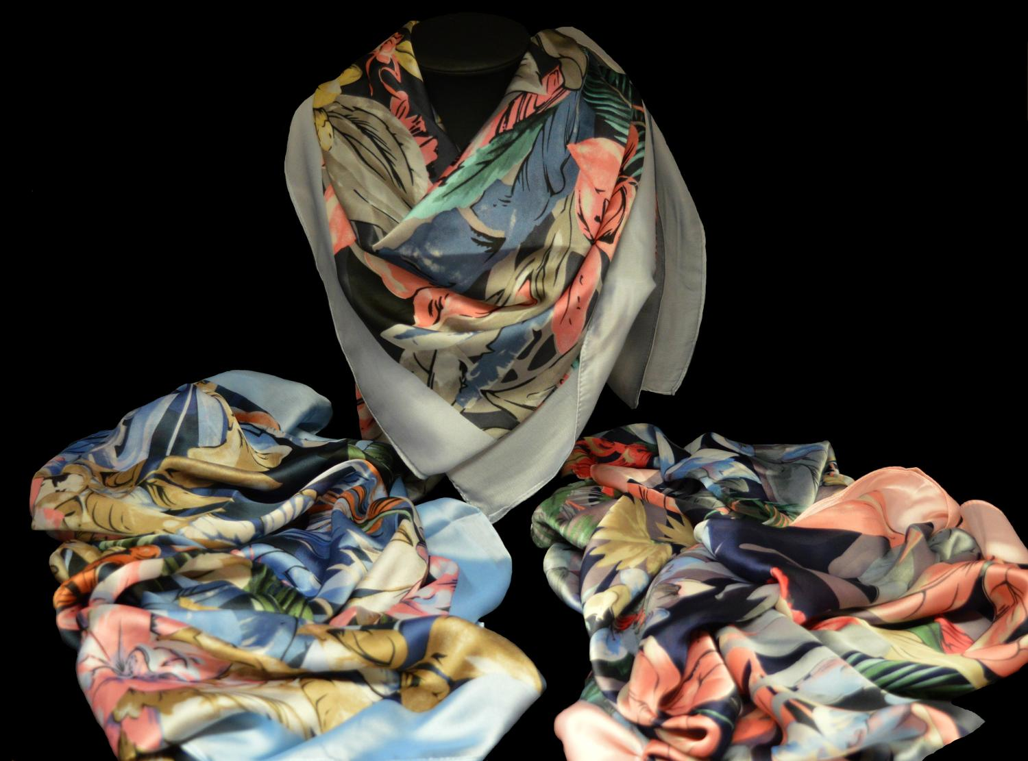 Multi Leaf and Flower Print Scarf with Plain Boarder