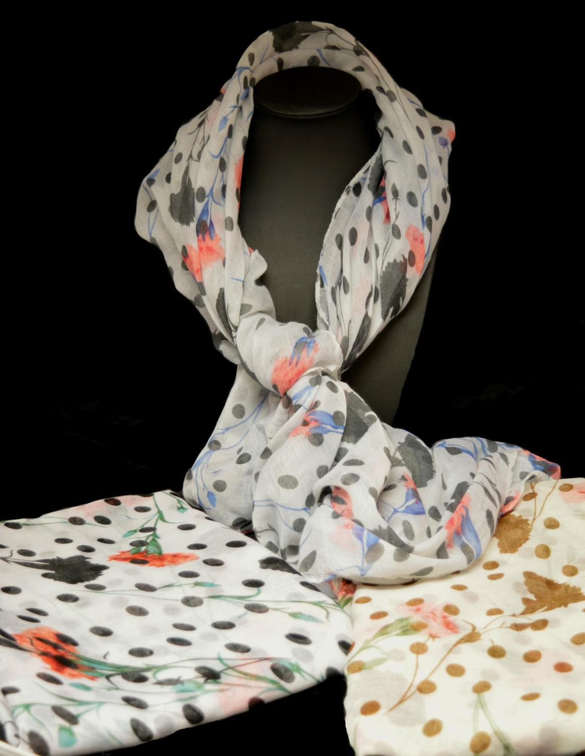 Spot and Flower Print Scarf