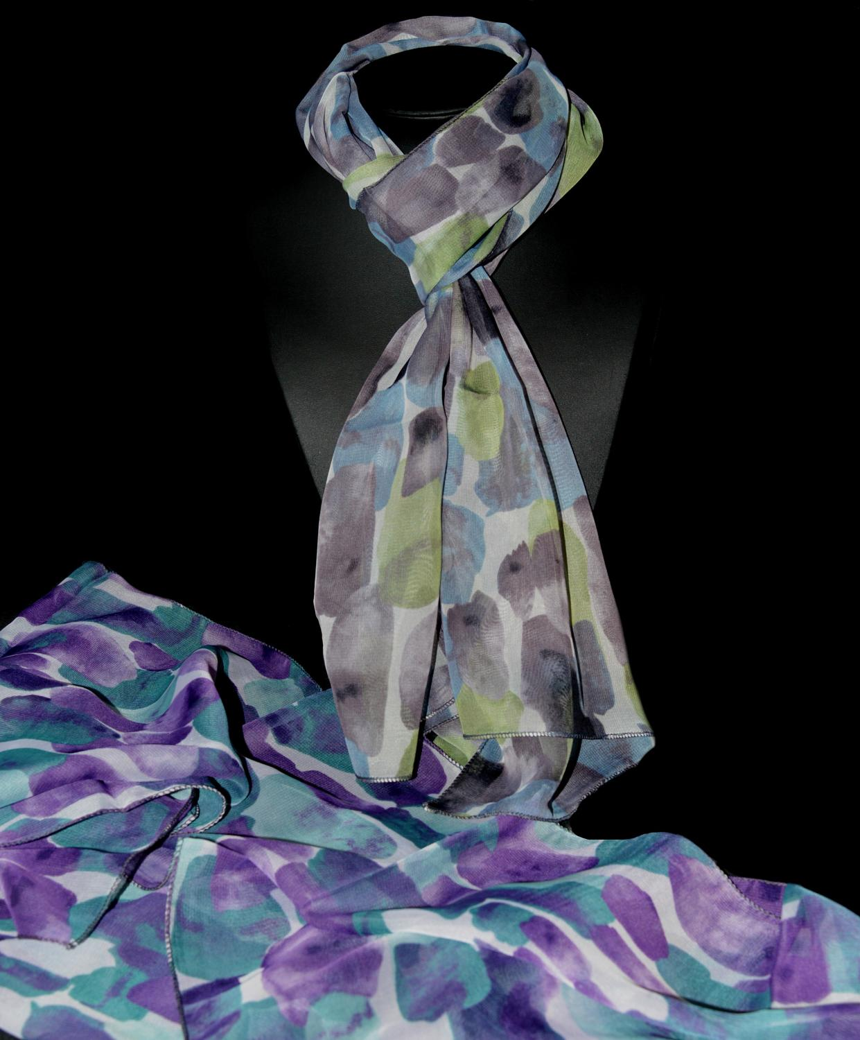 Watercolor Effect Chiffon Scarf