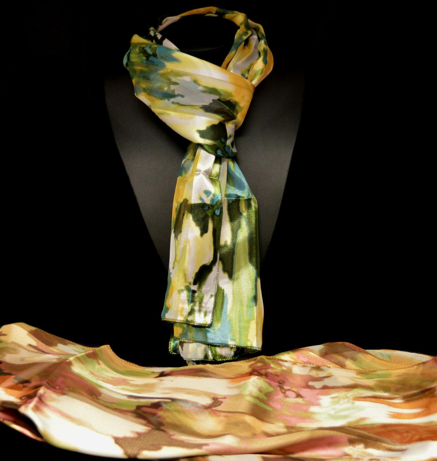Abstract Satin Stripe Scarf