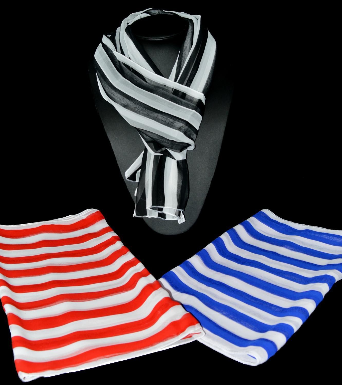 Stripe Pattern Chiffon Scarf