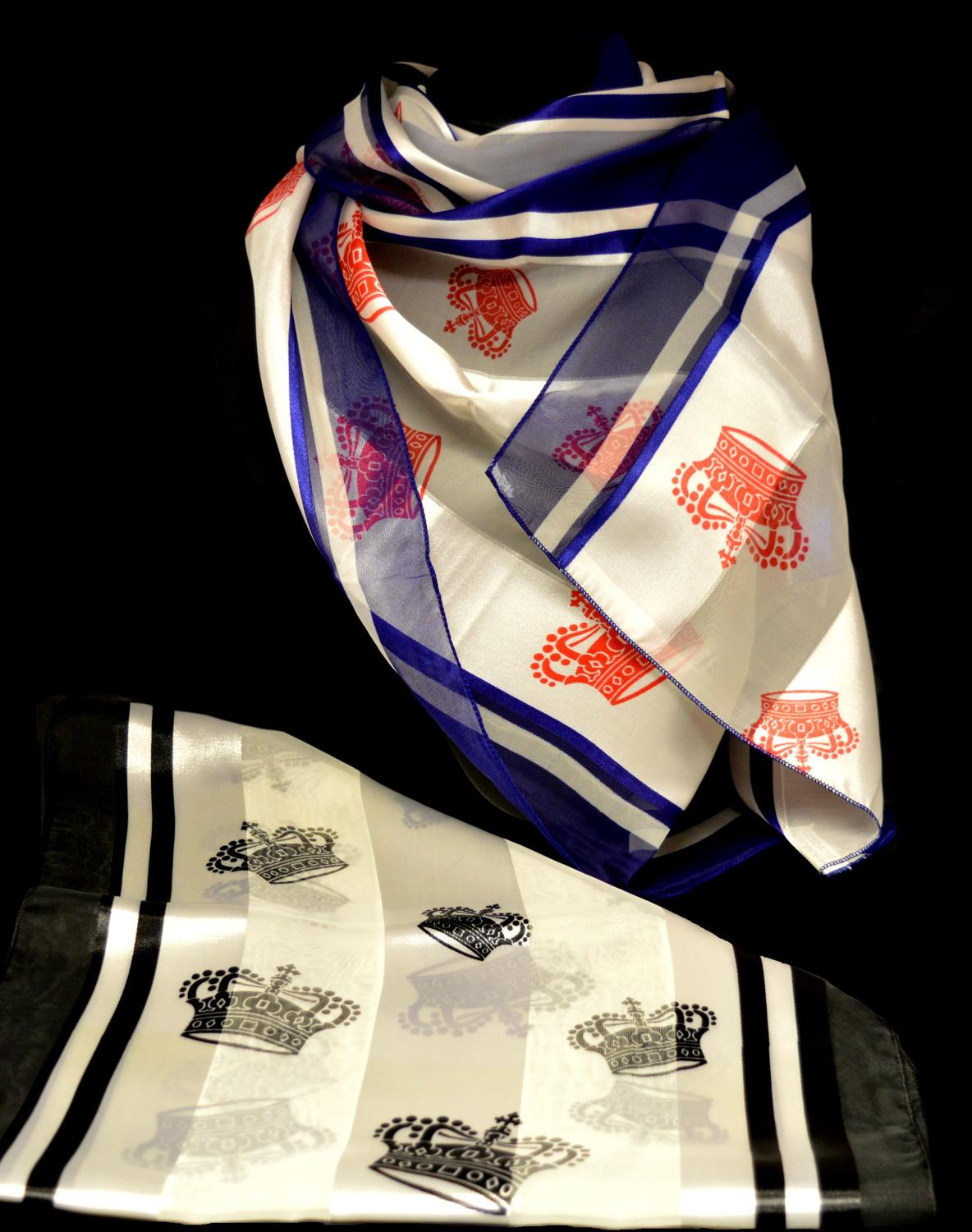 Crown Print Satin Stripe Scarf
