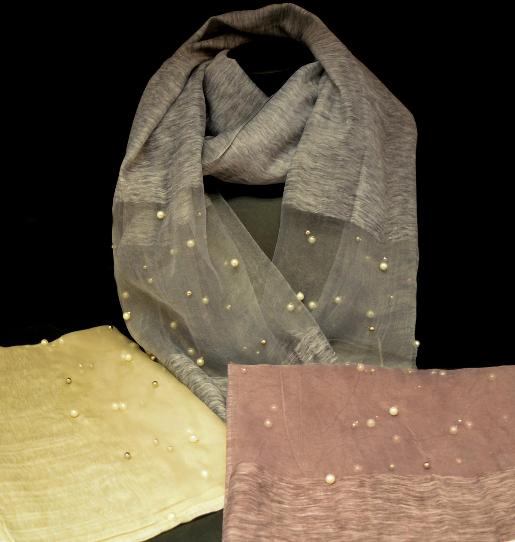 Plain Scarf with Organza Pearl Detail