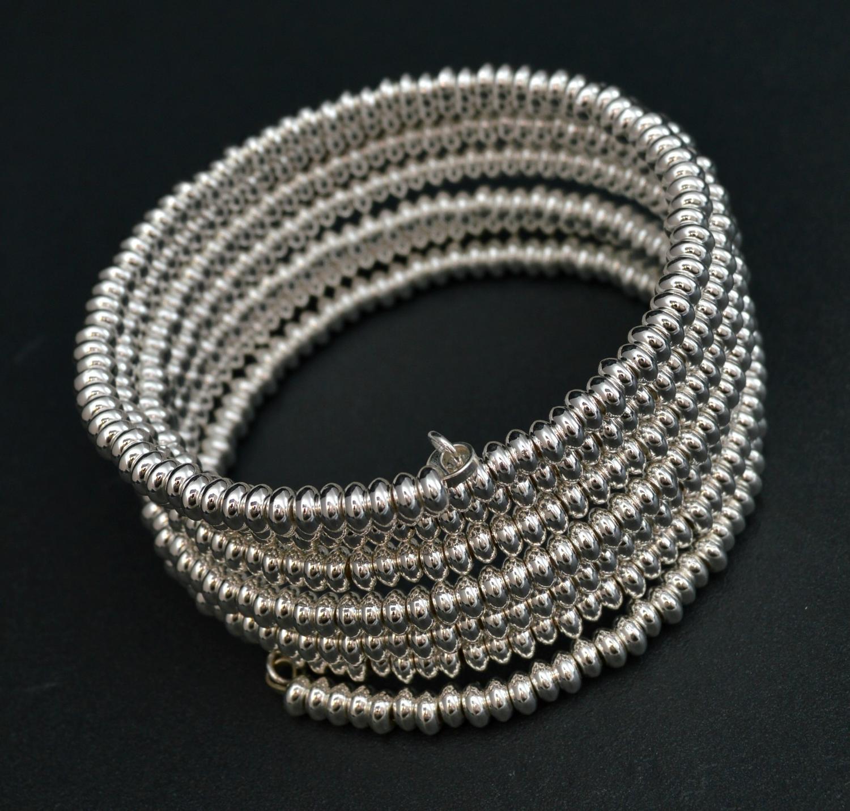 Silver Beaded Wrap Around Bracelet