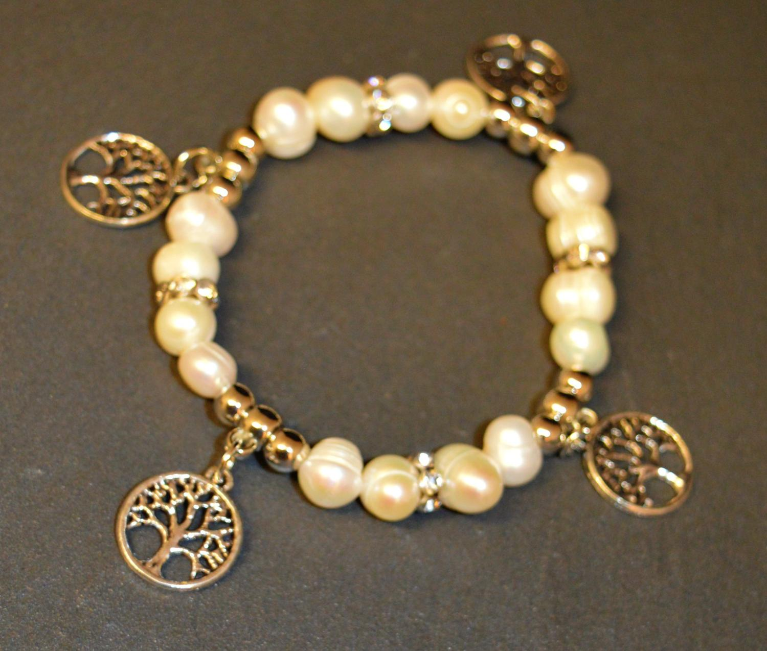 Fresh Water Pearl Elasticated Bracelet with Tree of Life Charm