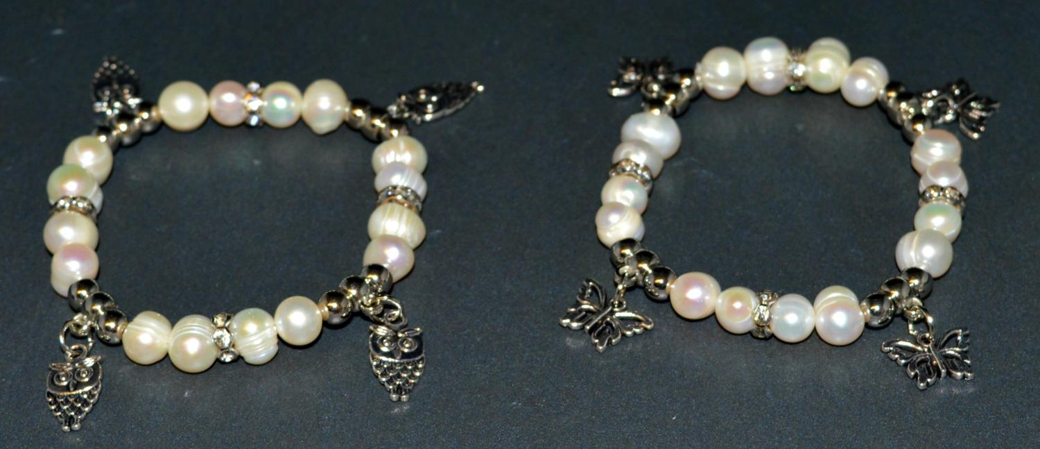 Fresh Water Pearl Elasticated Bracelet with Owl and Butterfly Charms