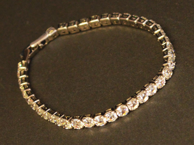 Glass Stone Tennis Style Bracelet
