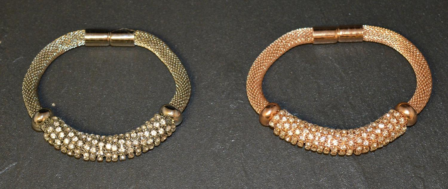 Mesh Magnetic Bracelet with Diamante Detail