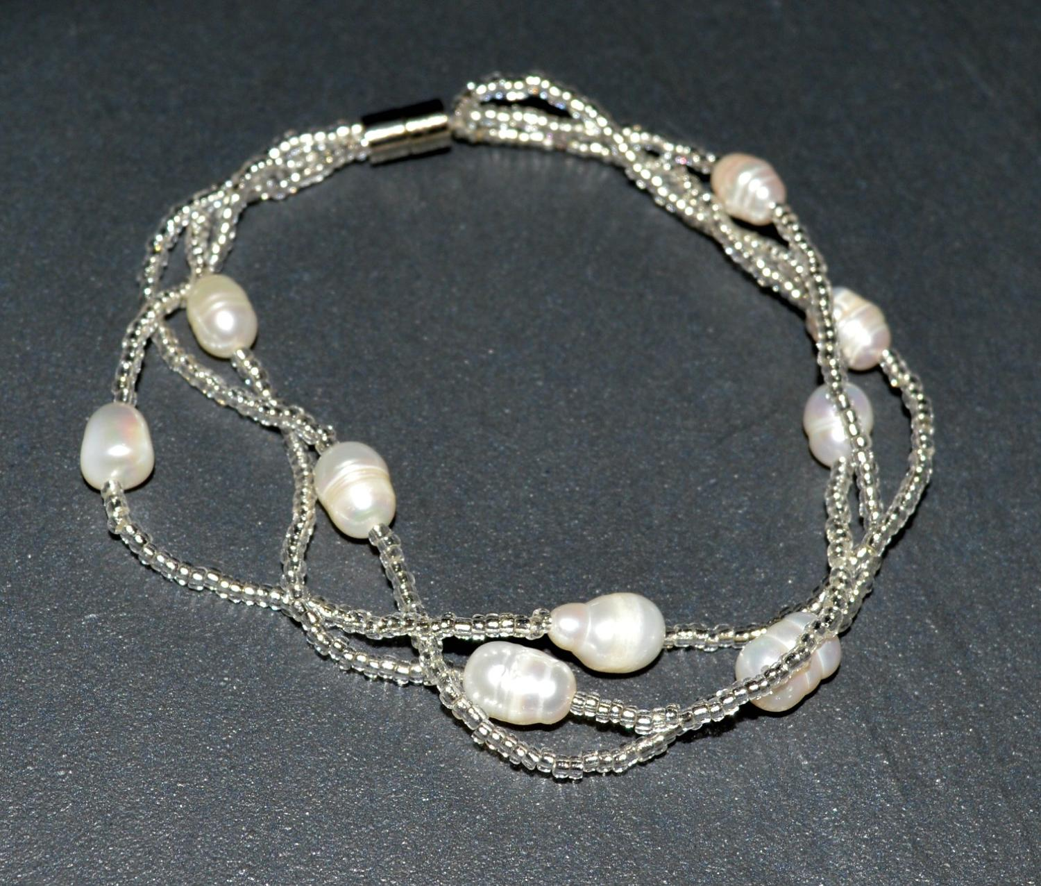 Seed Bead and Fresh Water Pearl Magnetic Bracelet