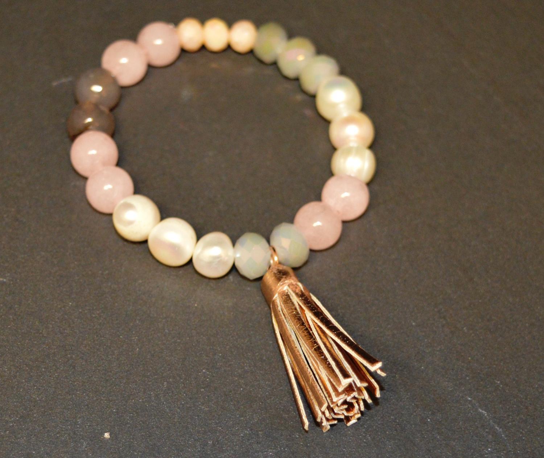 Elasticated Beaded Bracelet with Tassel Detail