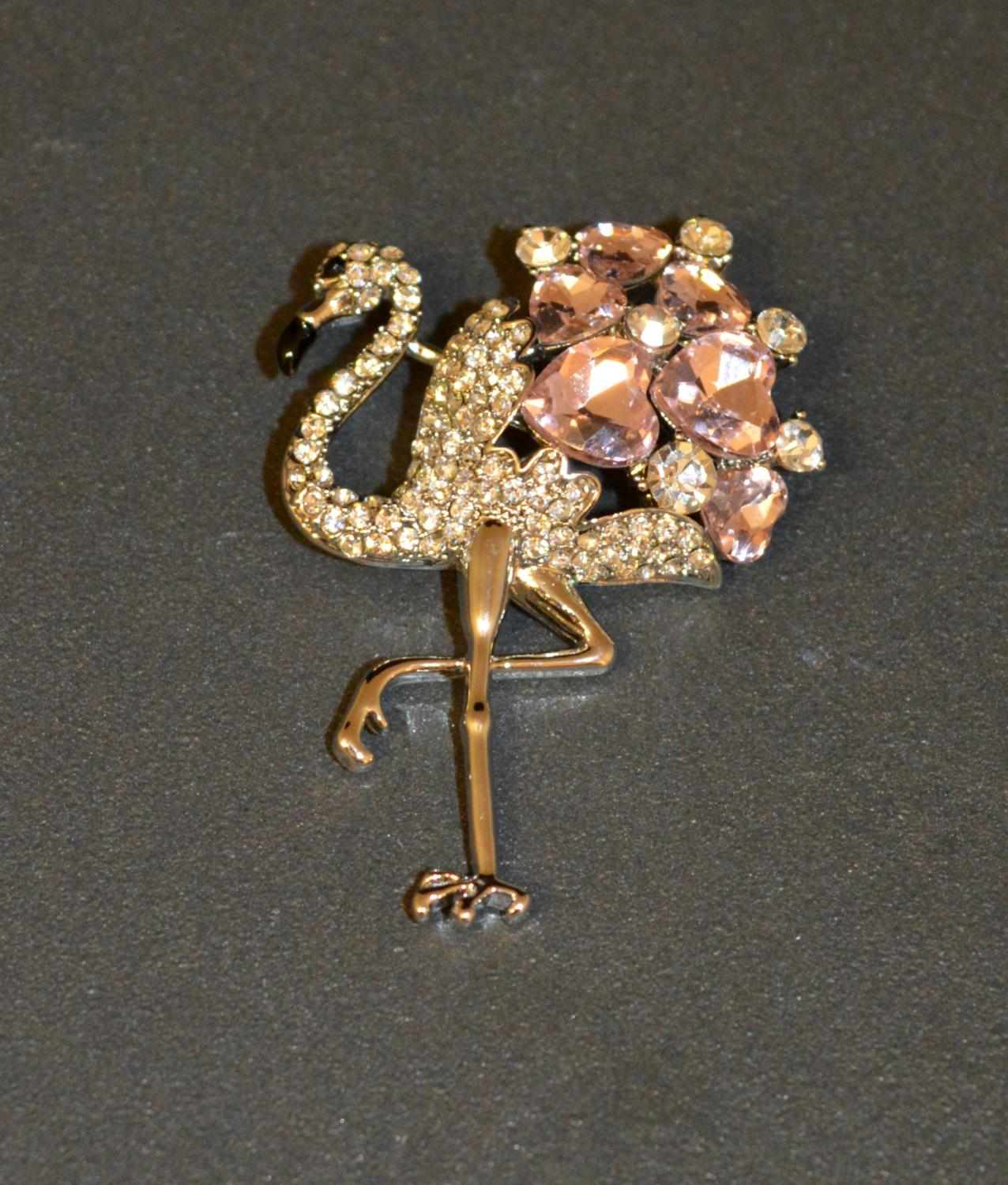 Diamante Flamingo Brooch