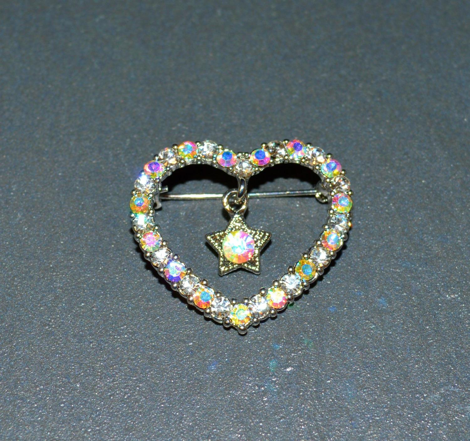 Iridescent Heart Brooch