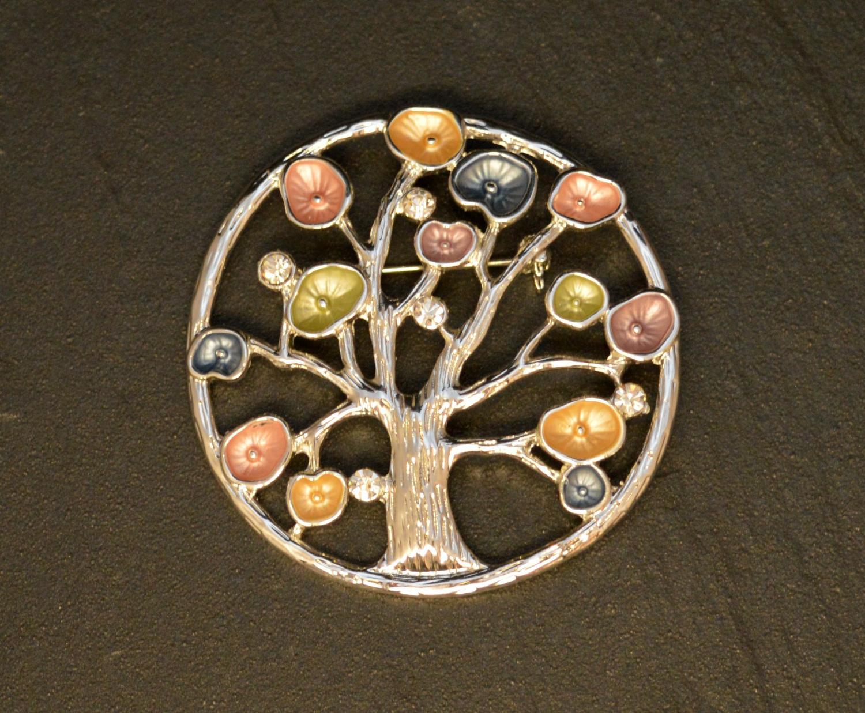 Pastel Coloured Flower/Tree Brooch