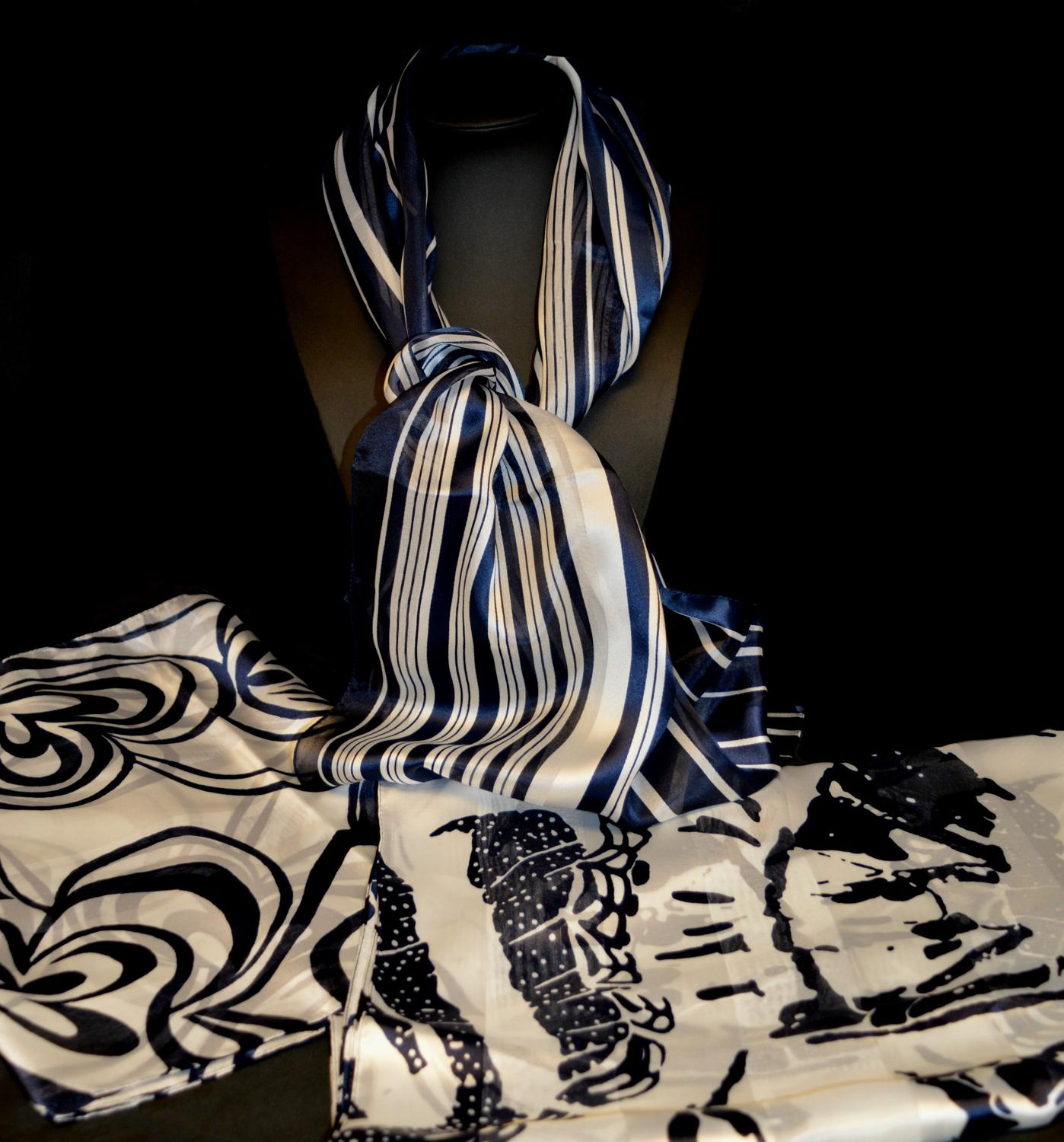 Navy and White Italian Scarf (3 Designs)