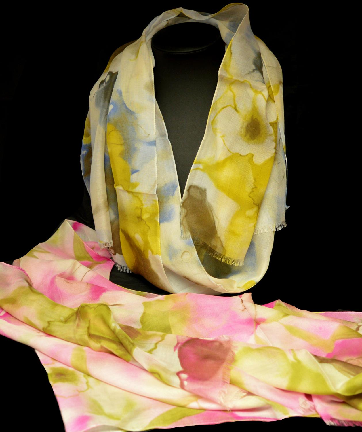 Large Muted  Flower Italian Scarf