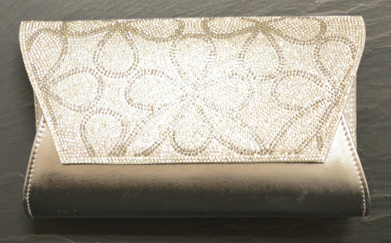 Large Envelope Style Evening Bag with Diamante Flower Design