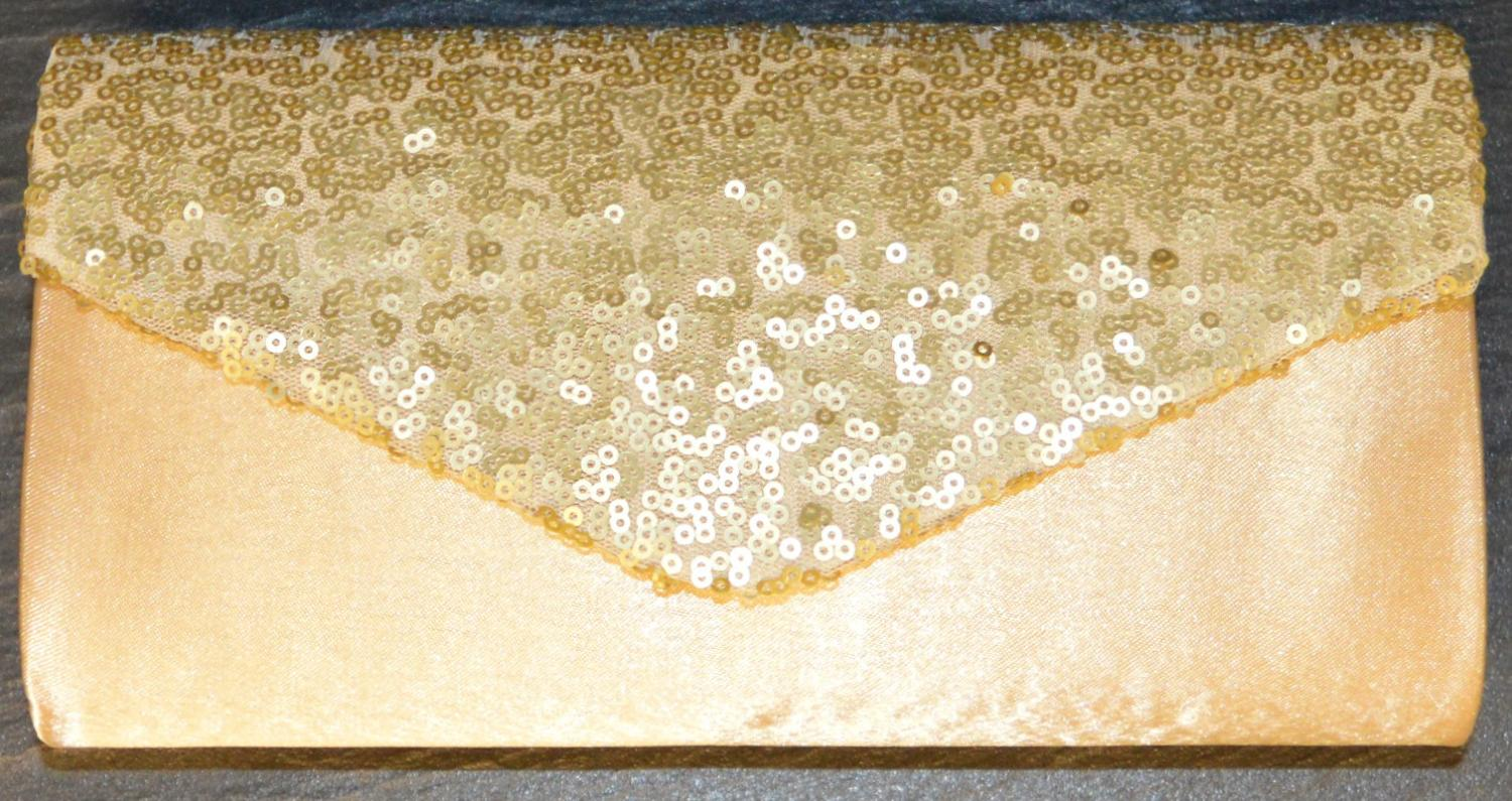 Satin Envelope Style Evening Bag with Sequin Detail