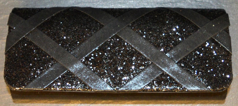 Metallic Evening Bag with Glitter and Criss-Cross