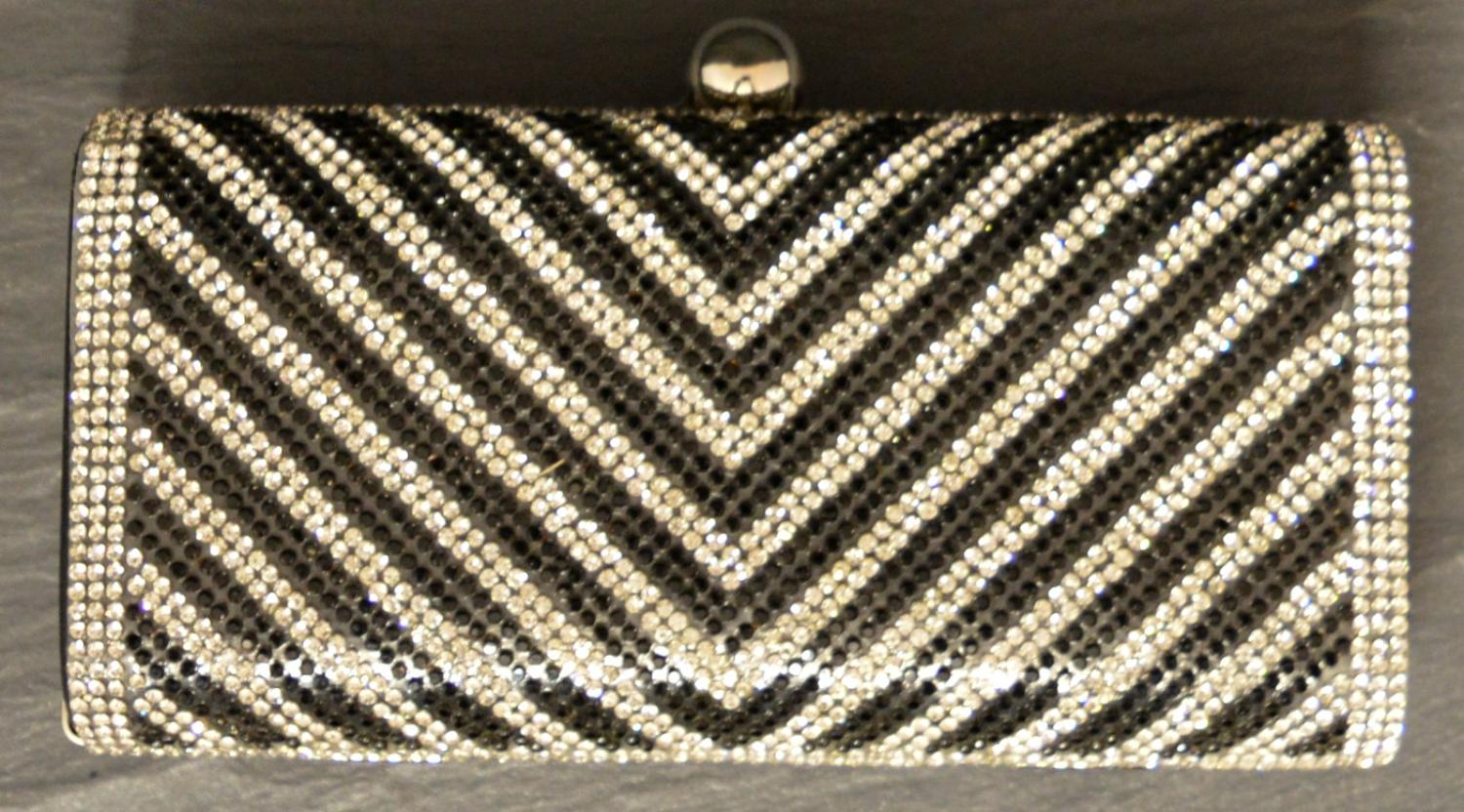 Black and Crystal Diamante Detailed Clutch Bag