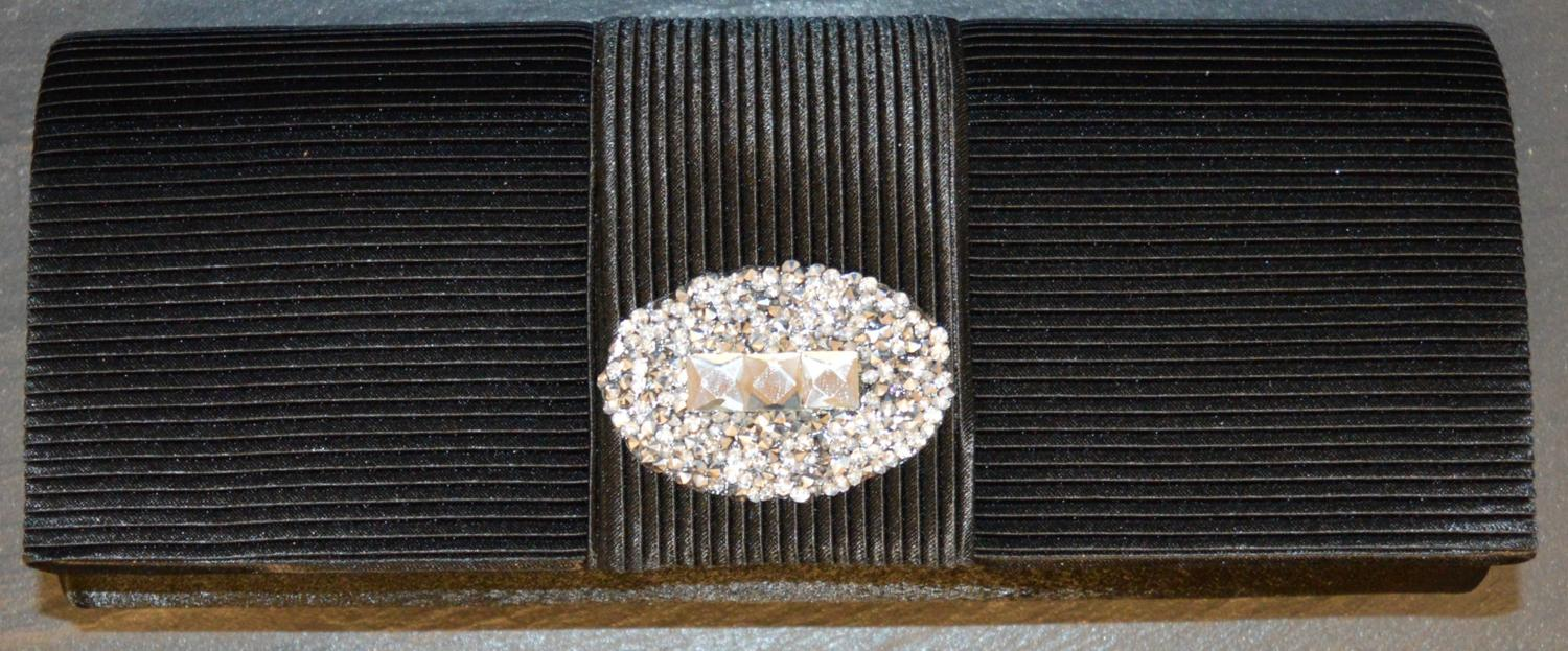 Pleated Satin Evening Bag with Large Diamante Detail