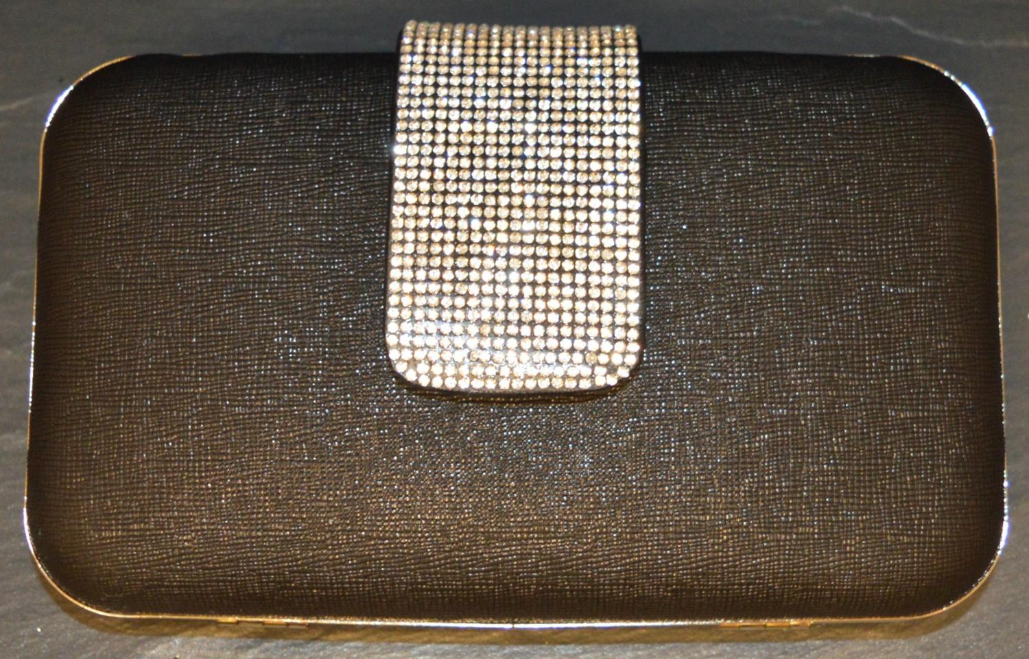 Plain Clutch Bag with Diamante Encrusted Fastening