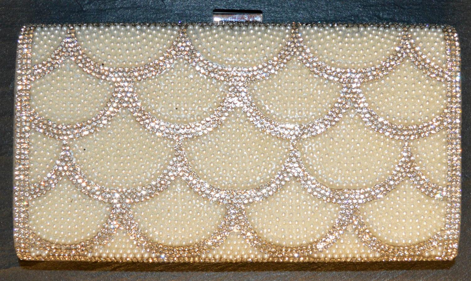 Diamante and Pearl Shell Style Patterned Clutch Bag