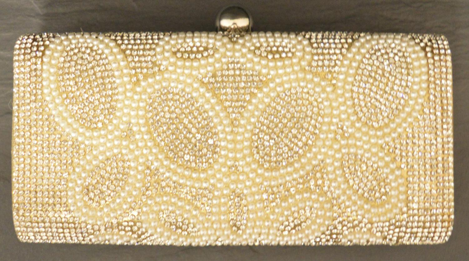 Diamante and Pearl Encrusted Clutch Bag