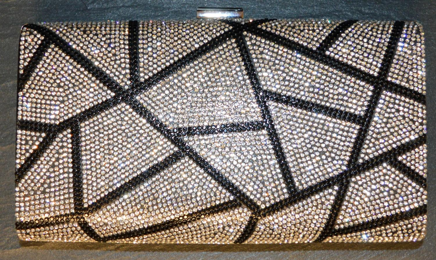 Geometric Diamante Patterned Clutch Bag