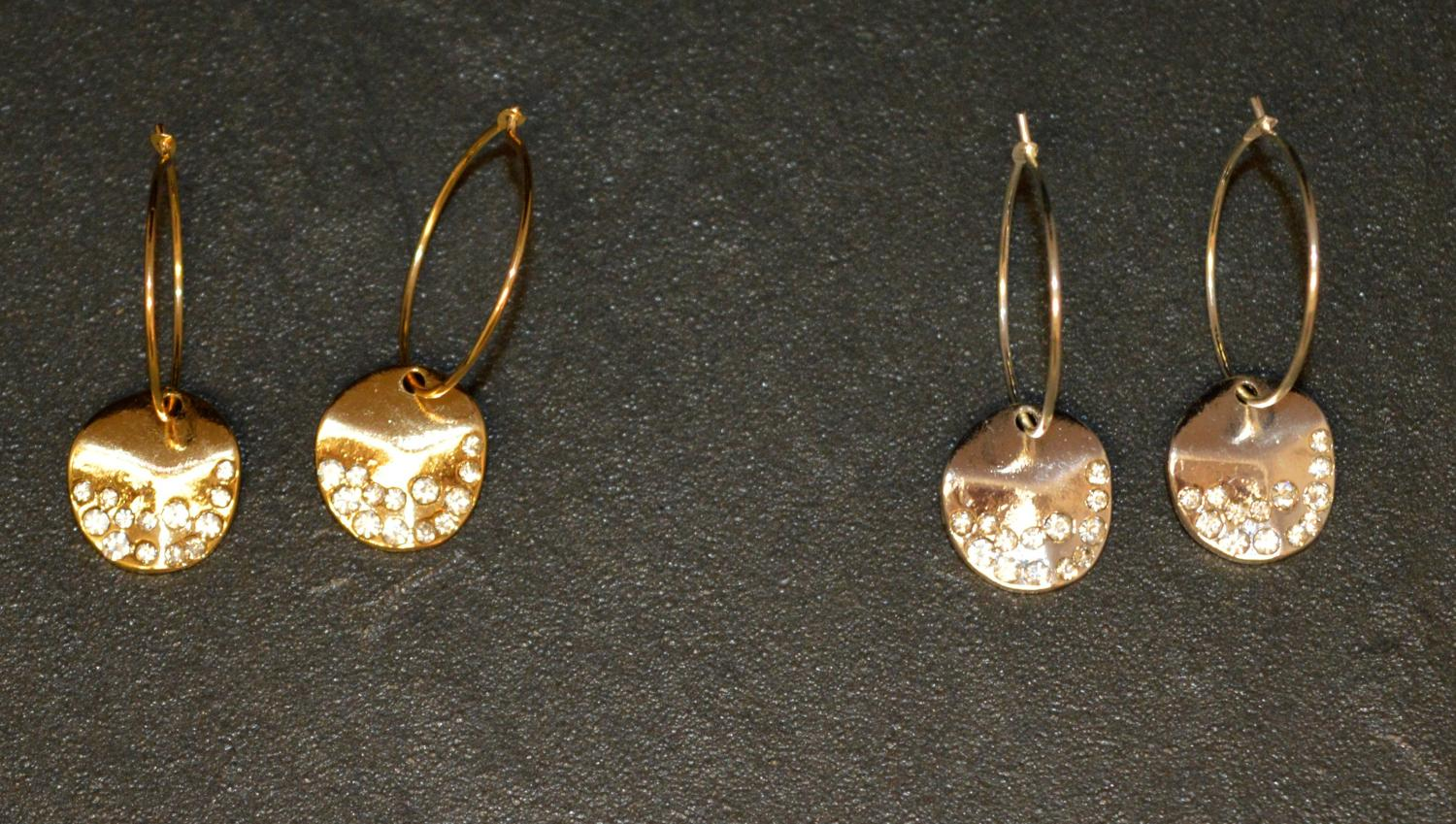 Diamante Encrusted Disc on Drop Earring