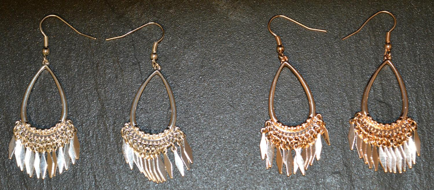 Tear Drop Earring with Metal Tassel Detail