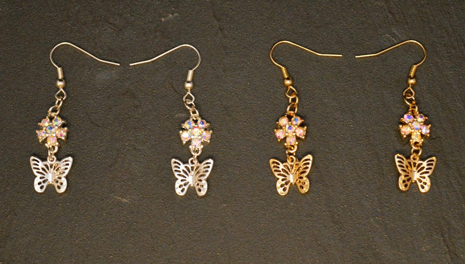 Butterfly Drop Earring with AB Crystal Flower Detail