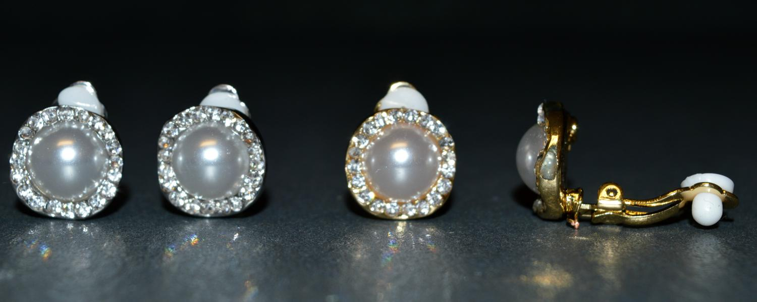 Pearl Effect Clip Earring with Diamante Detail